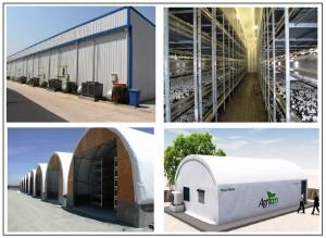 أنواع مختلفة من غرف إنتاج الفطر الزراعي