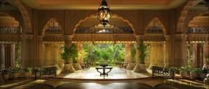 رؤية الحديقه من خلال قصر مصمم على الطراز المعماري الإسلامي